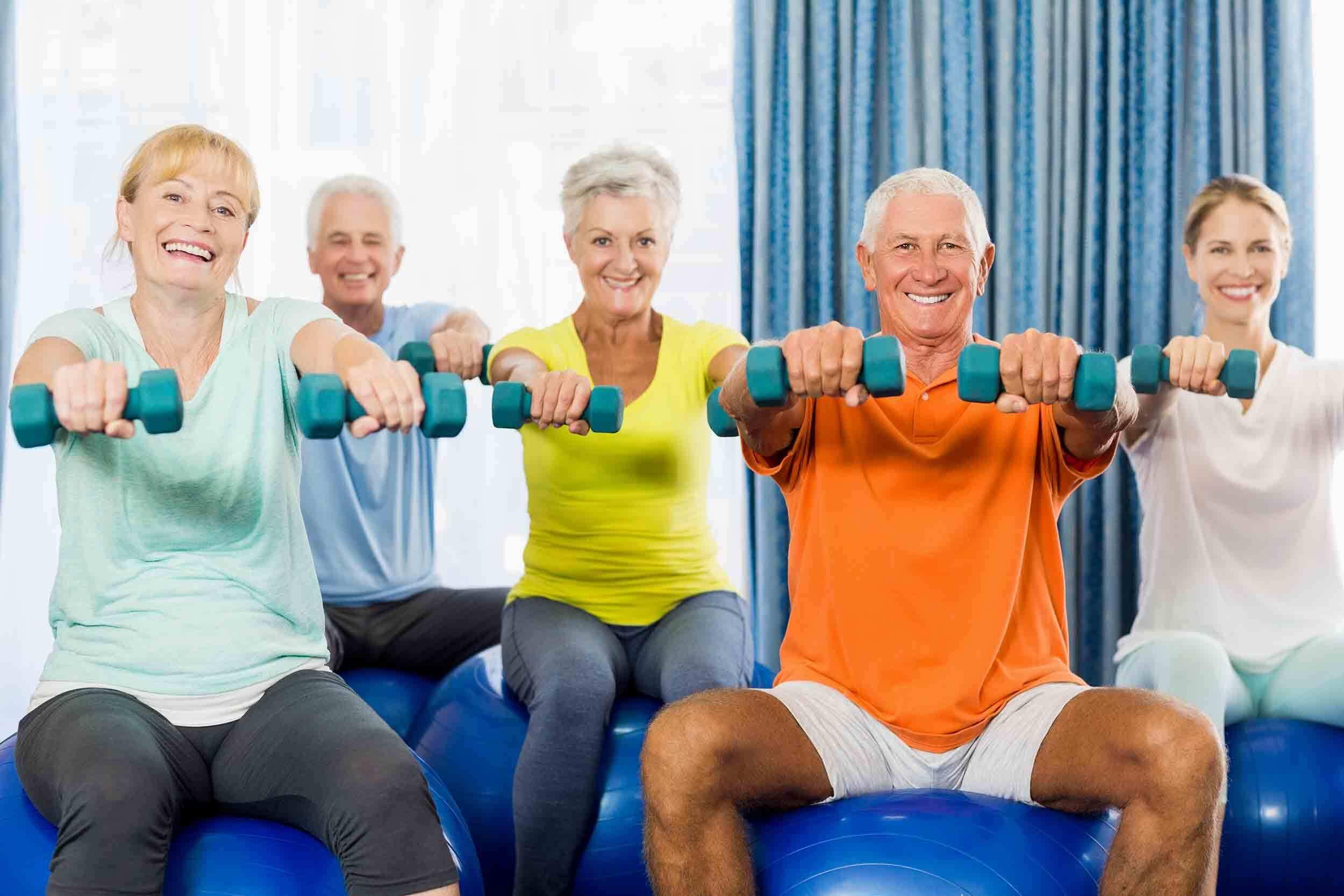 groupe séniors renforcement postural assis sur swissball Fab & Forme
