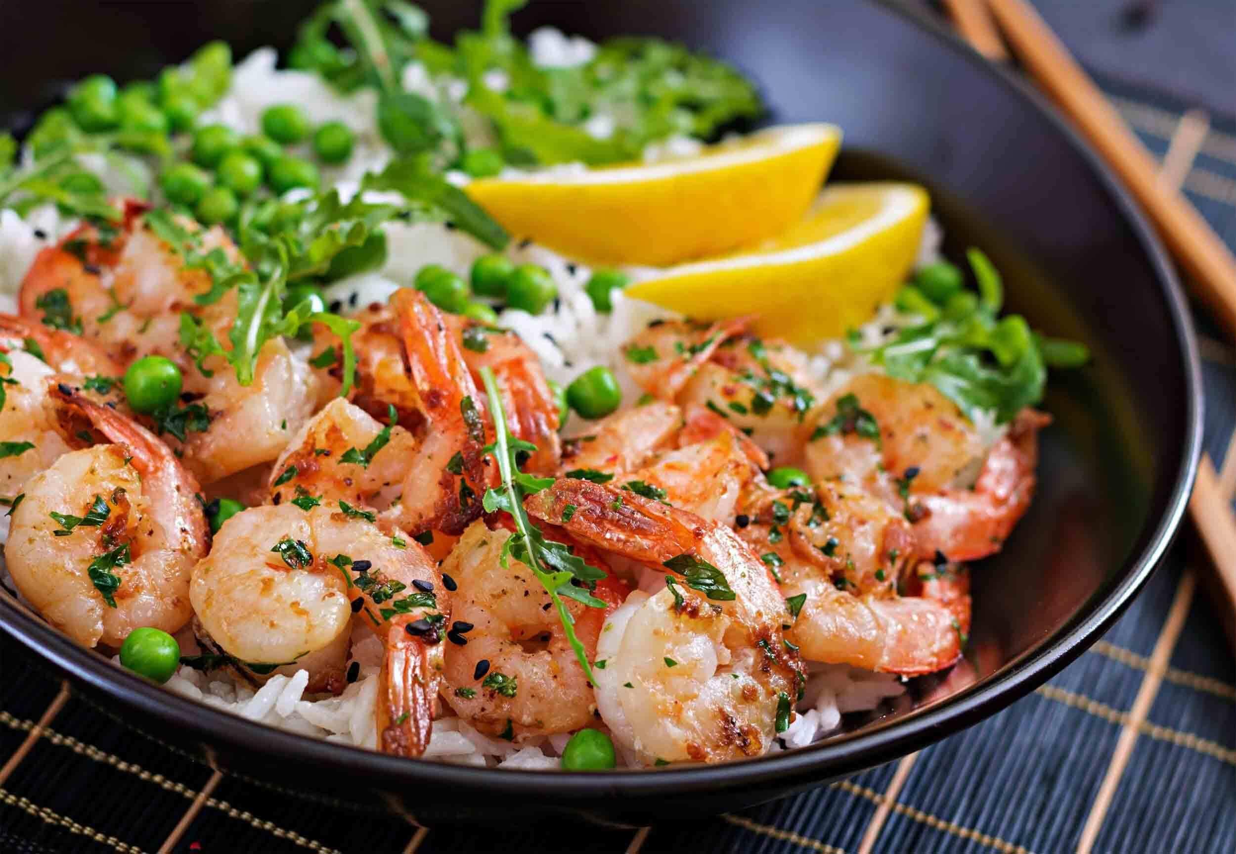 Riz et crevettes, équilibre alimentaire, Fab & Forme